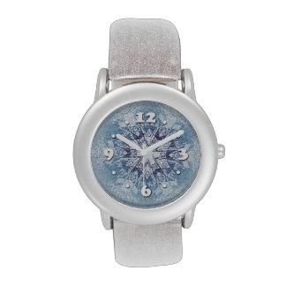 Funkelnd blaue Schneeflocken Armbanduhr