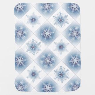 Funkelnd blaue Schneeflocken Babydecken