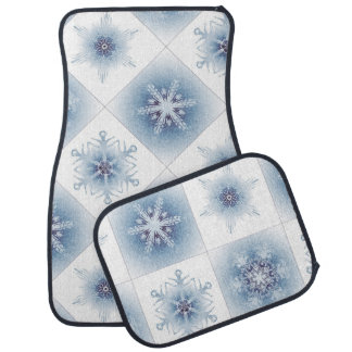 Funkelnd blaue Schneeflocken Auto Fussmatte