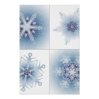 Funkelnd blaue Schneeflocken Perfektes Poster