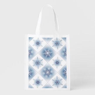 Funkelnd blaue Schneeflocken Einkaufsbeutel