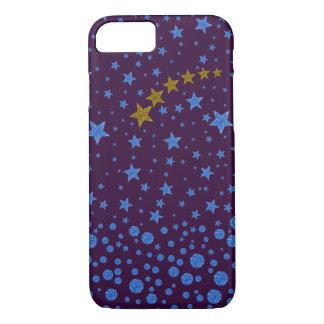 Funkelnd blaue Sterne auf Lila iPhone 8/7 Hülle