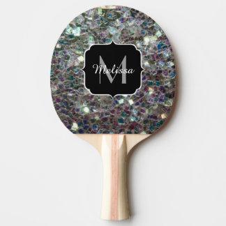 Funkelnd buntes silbernes Mosaik Monogramm Tischtennis Schläger