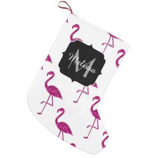 Funkelnd Flamingo Rosa-Glitter-Glitzern Monogramm Kleiner Weihnachtsstrumpf