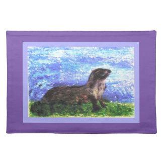 Funkelnd Fluss-Otter-Kunst Tischset