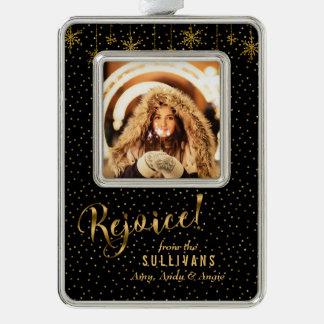 Funkelnd Goldschneeflocke freuen sich Foto Rahmen-Ornament Silber