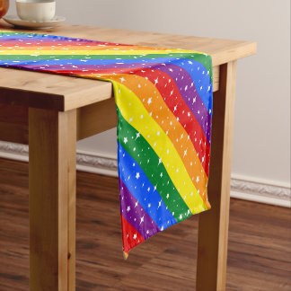 Funkelnd Regenbogen-Flagge Kurzer Tischläufer
