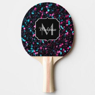Funkelnd rosa blaues Mosaik-Glitter-Glitzern Tischtennis Schläger