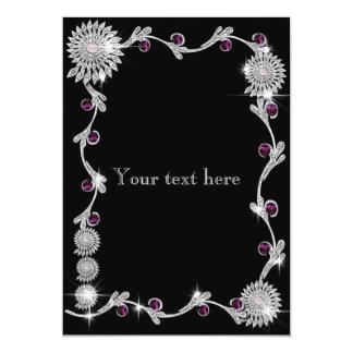 Funkelnd Silber und rosa Saphirgrenze 12,7 X 17,8 Cm Einladungskarte