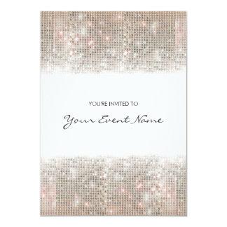 Funkelnd silberne Imitatsequins-festliches Party 12,7 X 17,8 Cm Einladungskarte