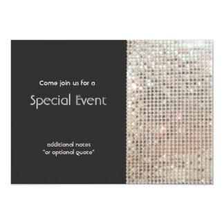 Funkelnd silberne Sequins-festliches Spaß-Party 12,7 X 17,8 Cm Einladungskarte