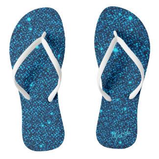 Funkelnd tiefer blauer Glitter drehen Flip Flops