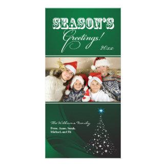 Funkelnd Weihnachtsbaum-Feiertags-Fotokarte (Grün) Karte