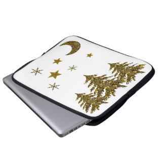 Funkelnd Weihnachtsbaum, Mond, Sterne Laptop Sleeve