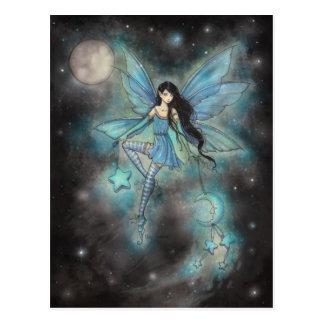 Funkelnde blaue feenhafte Fantasie-Kunst Dezembers Postkarten