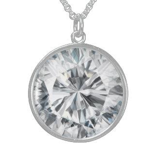 Funkelnde Diamantbeschaffenheit April Birthstone Sterlingsilber Halsketten