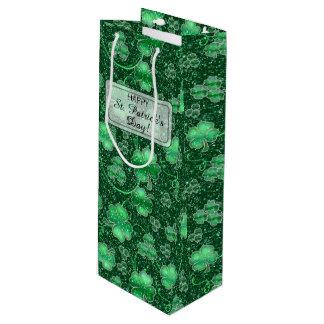 Funkelnde Kleeblätter und Wirbel ID289 Geschenktüte Für Weinflaschen