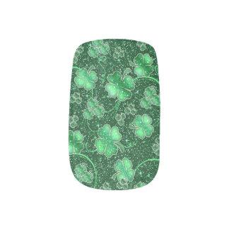 Funkelnde Kleeblätter und Wirbel ID289 Minx Nagelkunst