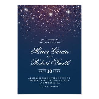 Funkelnde Marine-Blau-Hochzeits-Einladungs-Karte Karte