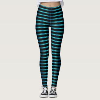Funkelnde metallische blaue horizontale Streifen Leggings