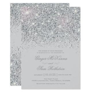Funkelnde silberne Glitter-Hochzeits-Einladungen 12,7 X 17,8 Cm Einladungskarte