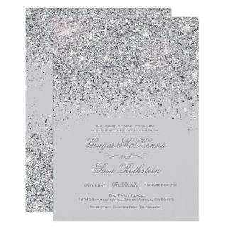 Funkelnde silberne Glitter-Hochzeits-Einladungen Karte