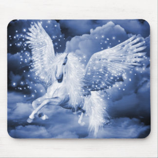 Funkelnde weiße Pegasus-Mausunterlage Mauspad