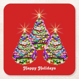 Funkelnder abstrakter Weihnachtsbaum-Entwurf auf Rechteckiger Pappuntersetzer