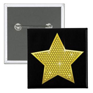 Funkelnder Goldstern Quadratischer Button 5,1 Cm
