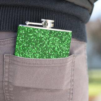 Funkelnder grüner Glitter Flachmann
