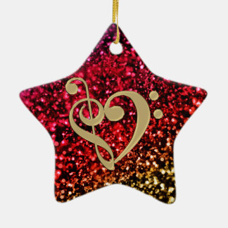 Funkelnder roter Stern mit Musikclef-Herzen Keramik Ornament