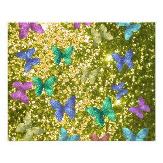 Funkelndes goldenes Blinzeln der Mode, 11,4 X 14,2 Cm Flyer