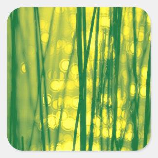 Funkelndes Reedgras-Grün/Gelb Quadratischer Aufkleber