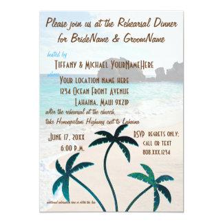 Funkelndes Strand-Palme-Proben-Abendessen Karte