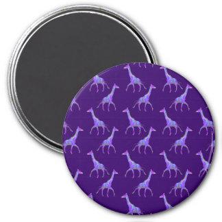 Funkelnhippie-Art-lila Giraffe Runder Magnet 7,6 Cm