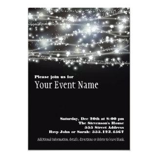 Funkelnstern-Schwarzweiss-Party Einladung 12,7 X 17,8 Cm Einladungskarte