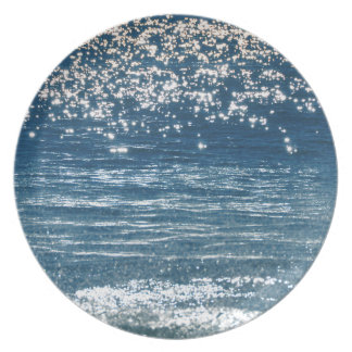 Funken der blauen Ozean-Melamin-Platte Teller