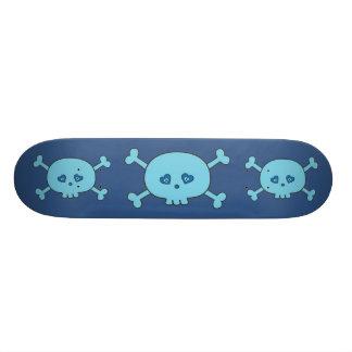 Funky blaue Cartoon-Schädel Skateboard Bretter