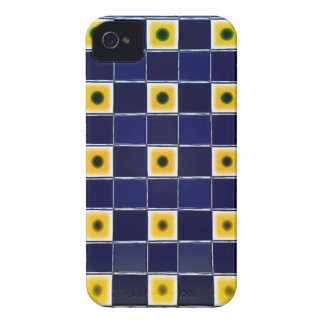 Funky blauer gelber Block-Muster-BlackBerry-Kasten