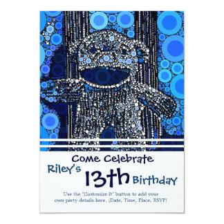 Funky blauer Socken-Affe kreist Blasen-Pop-Kunst 12,7 X 17,8 Cm Einladungskarte