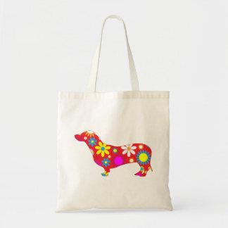 Funky, Blumen-, retro Dackelhund niedlich Einkaufstaschen
