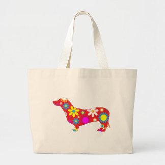 Funky, Blumen-, retro Dackelhund niedlich Tasche