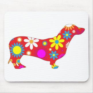 Funky BlumenDackelhundmousepad, Geschenkidee Mousepads