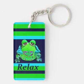 Funky bunter Frosch ENTSPANNEN sich aquamarine Beidseitiger Rechteckiger Acryl Schlüsselanhänger