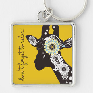 Funky coole Paisley-Giraffen-lustiges Tiergelb Schlüsselanhänger