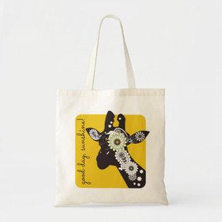 Funky coole Paisley-Giraffen-lustiges Tiergelb Tragetasche