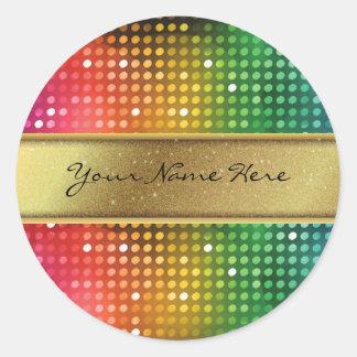 Funky Disco-Lichter mit GoldGlitter-Namen-Streifen Runder Aufkleber
