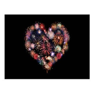 Funky Feuerwerk-Liebe Postkarte