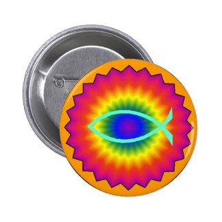 Funky Fisch-Augen-christlicher Knopf Runder Button 5,7 Cm