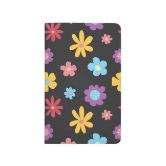 Funky Frühlings-Blumen-(dunkles) Muster Taschennotizbuch